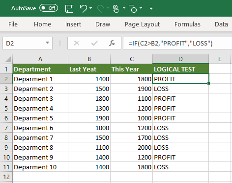 If Function to Compare This Year and Last Year Values