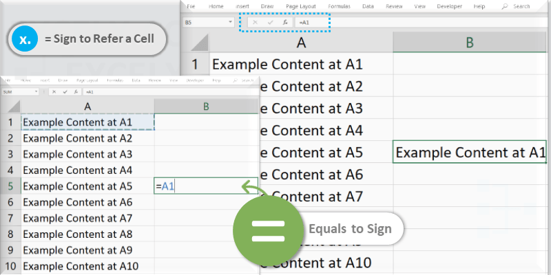 Display Cell Content in Another Cell in Excel