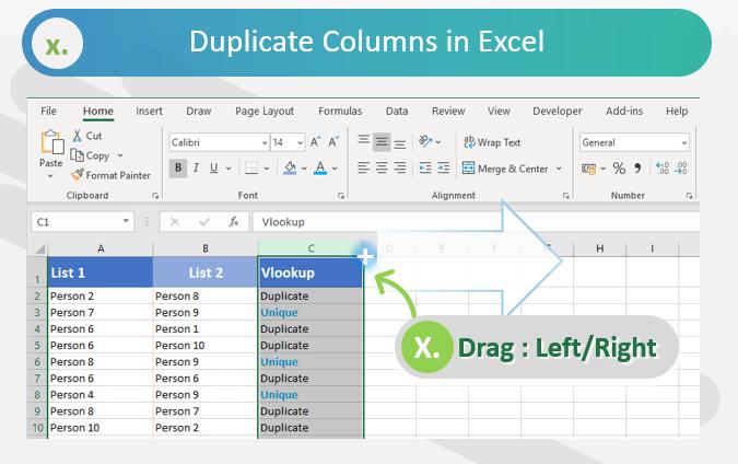 Duplicate Columns in Excel