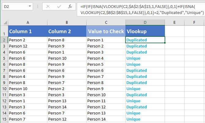 Formula for checking duplicates Vlookup