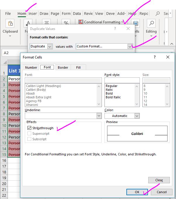 Strike through Duplicates in Excel