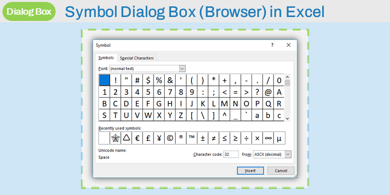 Symbol Dialog Box in Excel