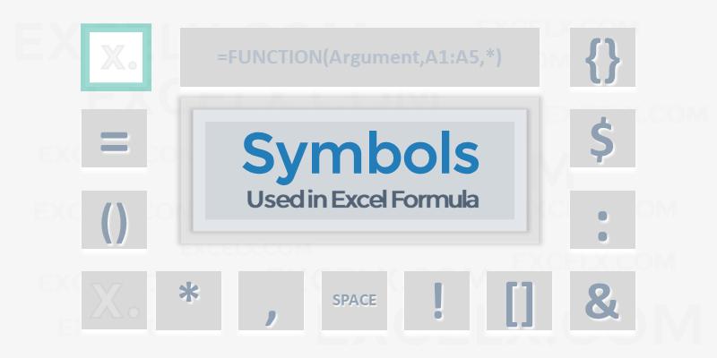 Symbols Used in Excel Formula