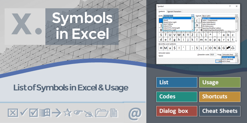 Symbols in Excel