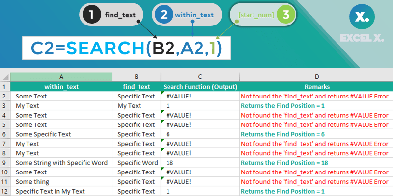Search Function in Excel - Examples